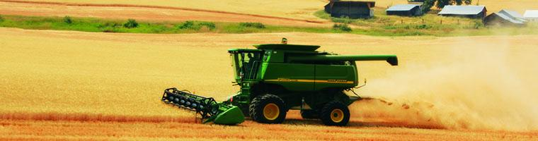 Tractor harvesting golden Palouse wheat