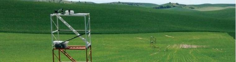 Precision agriculture setup in a Pacific Northwest field